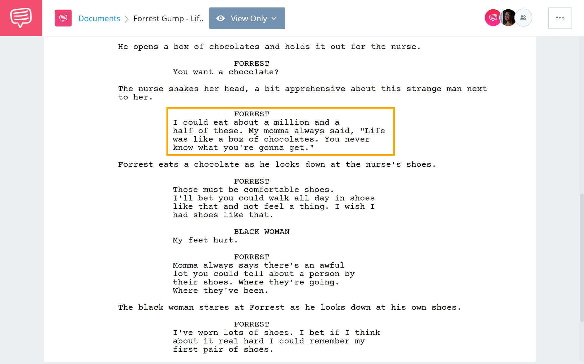 What-is-Simile-Forrest Gump Chocolate Scene-StudioBinder-Scriptwriting-Software (1)