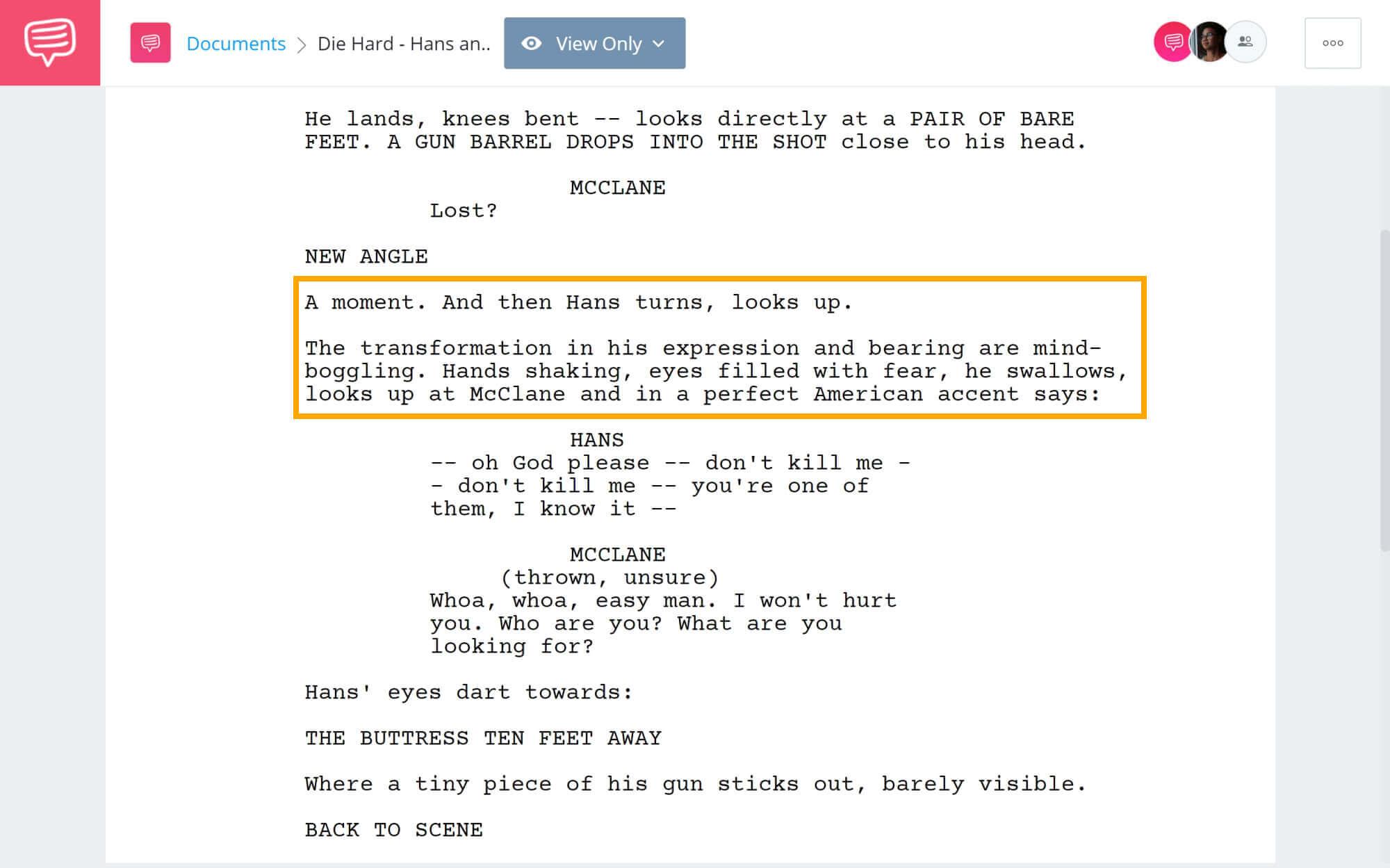Die Hard Script Teardown - Hans and John Scene - StudioBinder Screenwriting Software