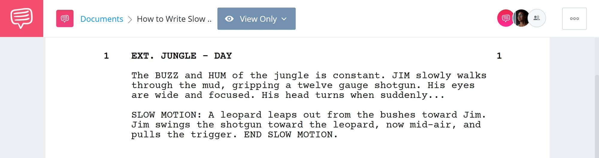 How to Write Slow Motion in a Script - Example