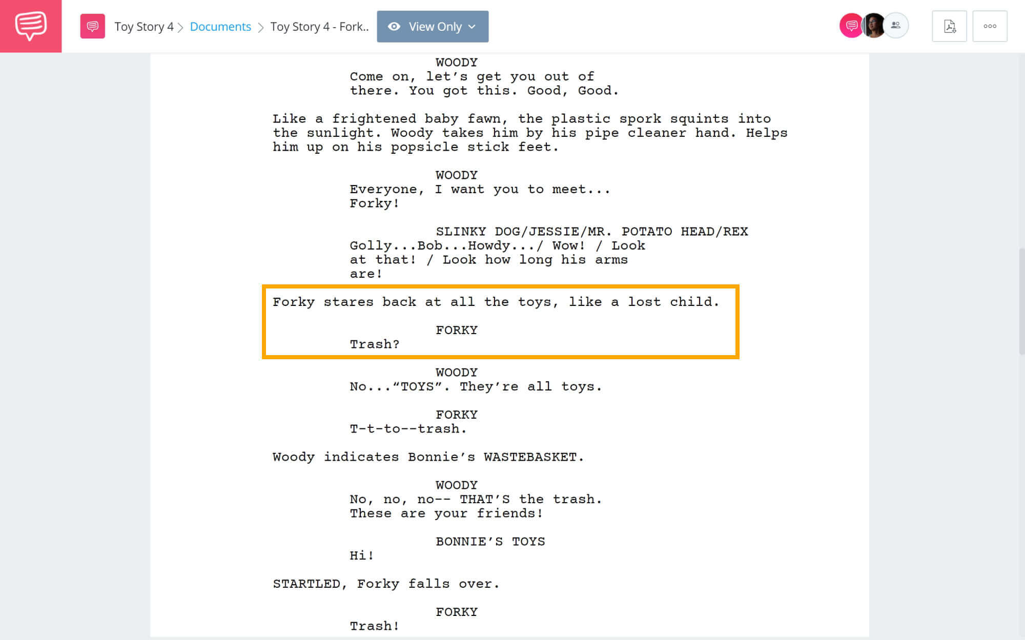 Toy Story 4 Script Teardown - Forky's Introduction - StudioBinder Screenwriting Software