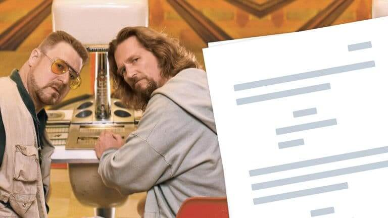 The Big Lebowski Script Characters, Quotes, and Screenplay Download - Featured