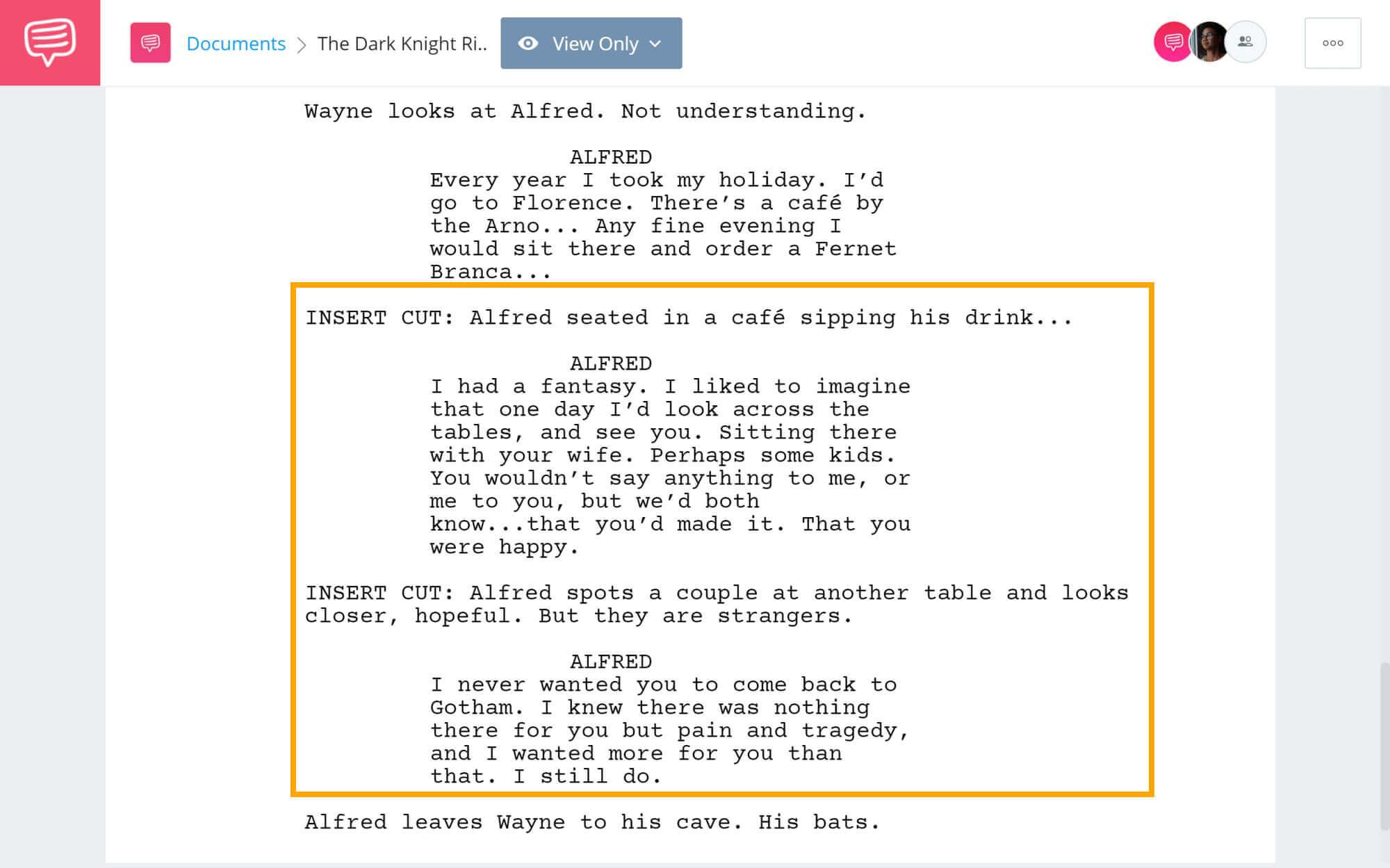 The Dark Knight Rises Script Teardown - Denoument Foreshadowing - StudioBinder Screenwriting Software