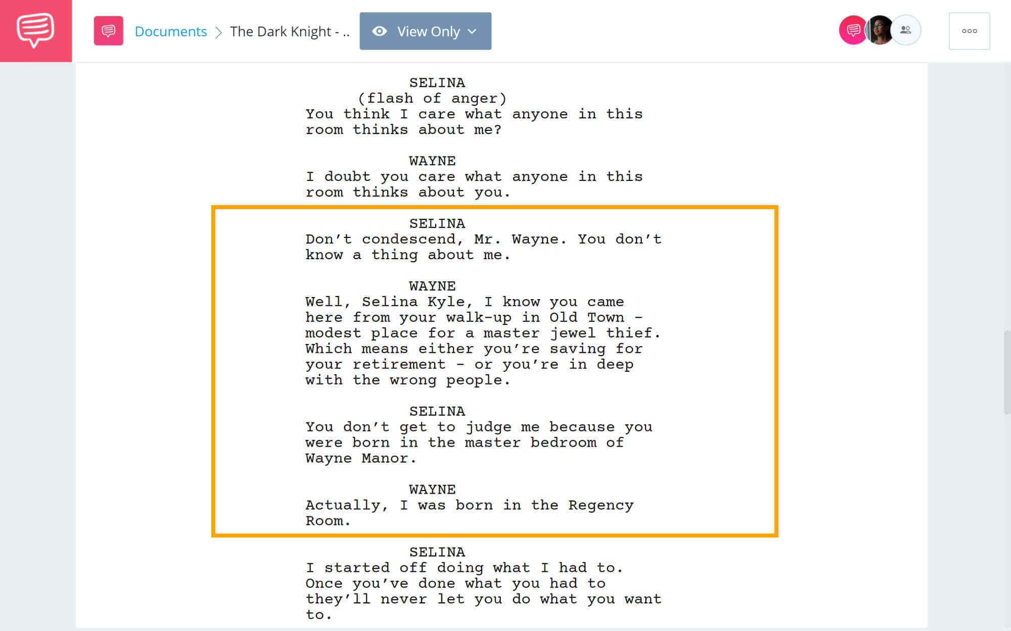The Dark Knight Rises Script Teardown - Exposition in Dialogue Example - StudioBinder Screenwriting Software