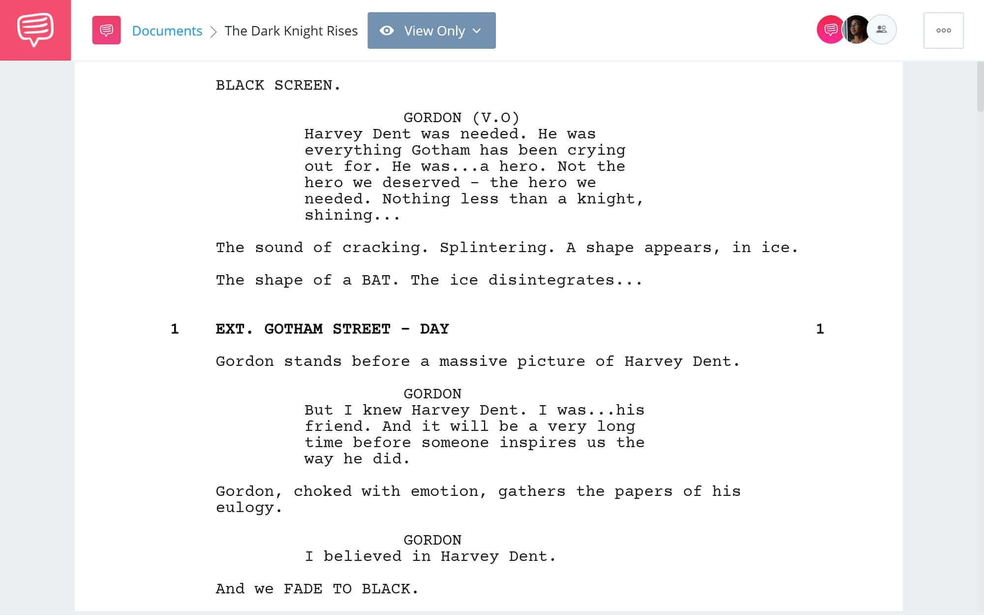 The Dark Knight Rises Script Teardown - Full Script PDF Download Second - StudioBinder Scriptwriting Software