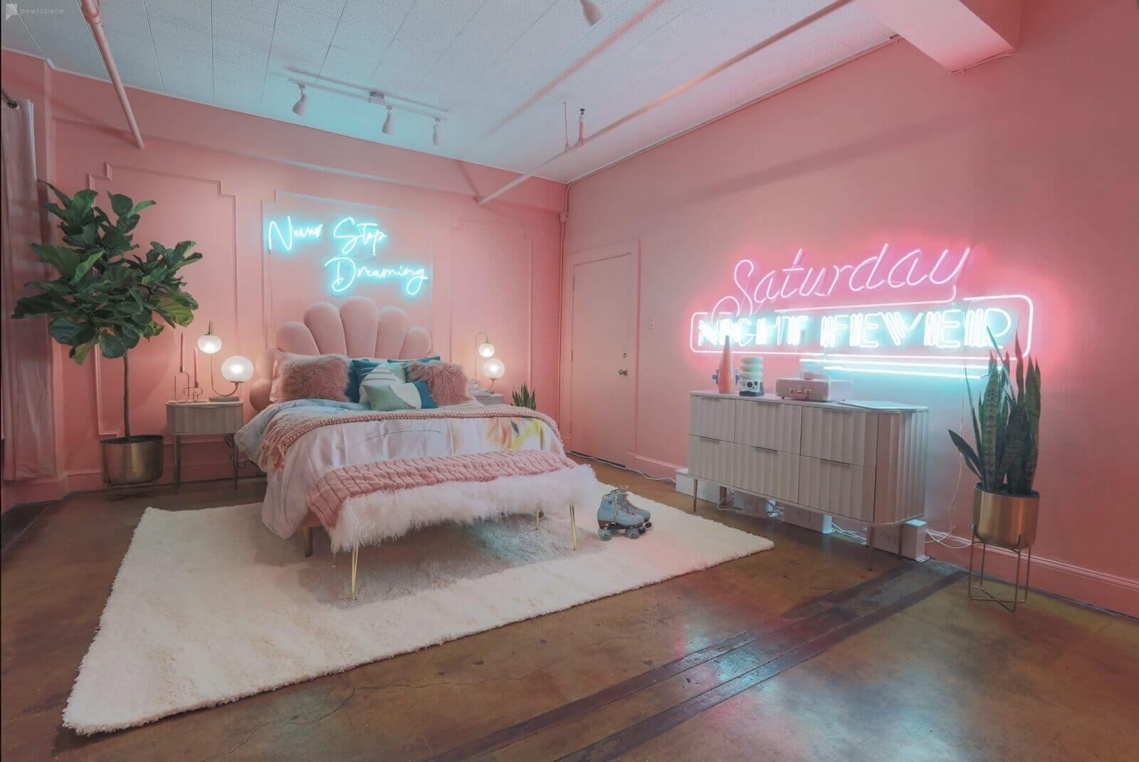 Top 10 Most Unique Filming Location - Downtown 80's Neon Pink Loft