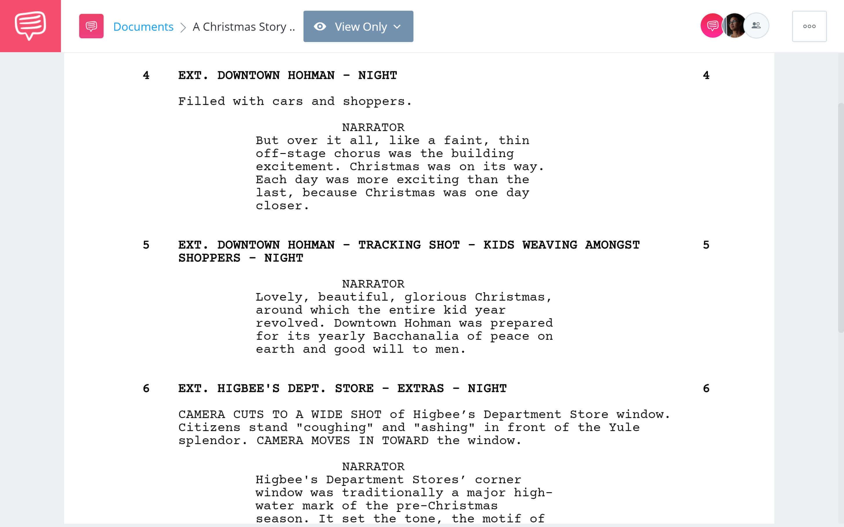 A Christmas Story Script Breakdown - A Christmas Nostalgia Scene - StudioBinder Screenwriting Software