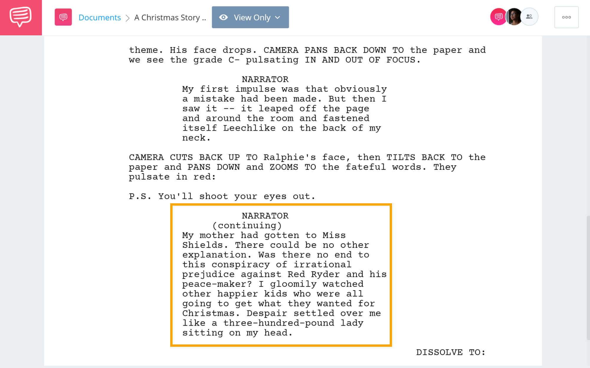 A Christmas Story Script Breakdown - Ralphie's Breaking Point Scene - StudioBinder Screenwriting Software
