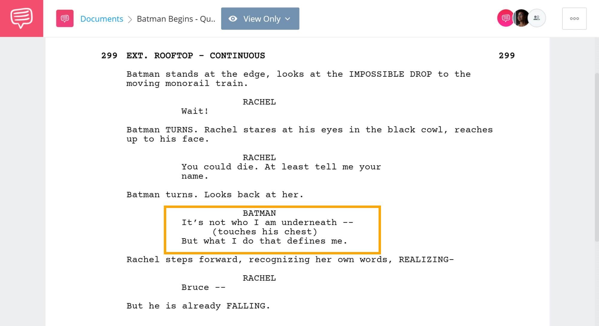 Batman Begins Script Teardown - Batman Revelation To Rachel - StudioBinder Screenwriting Software
