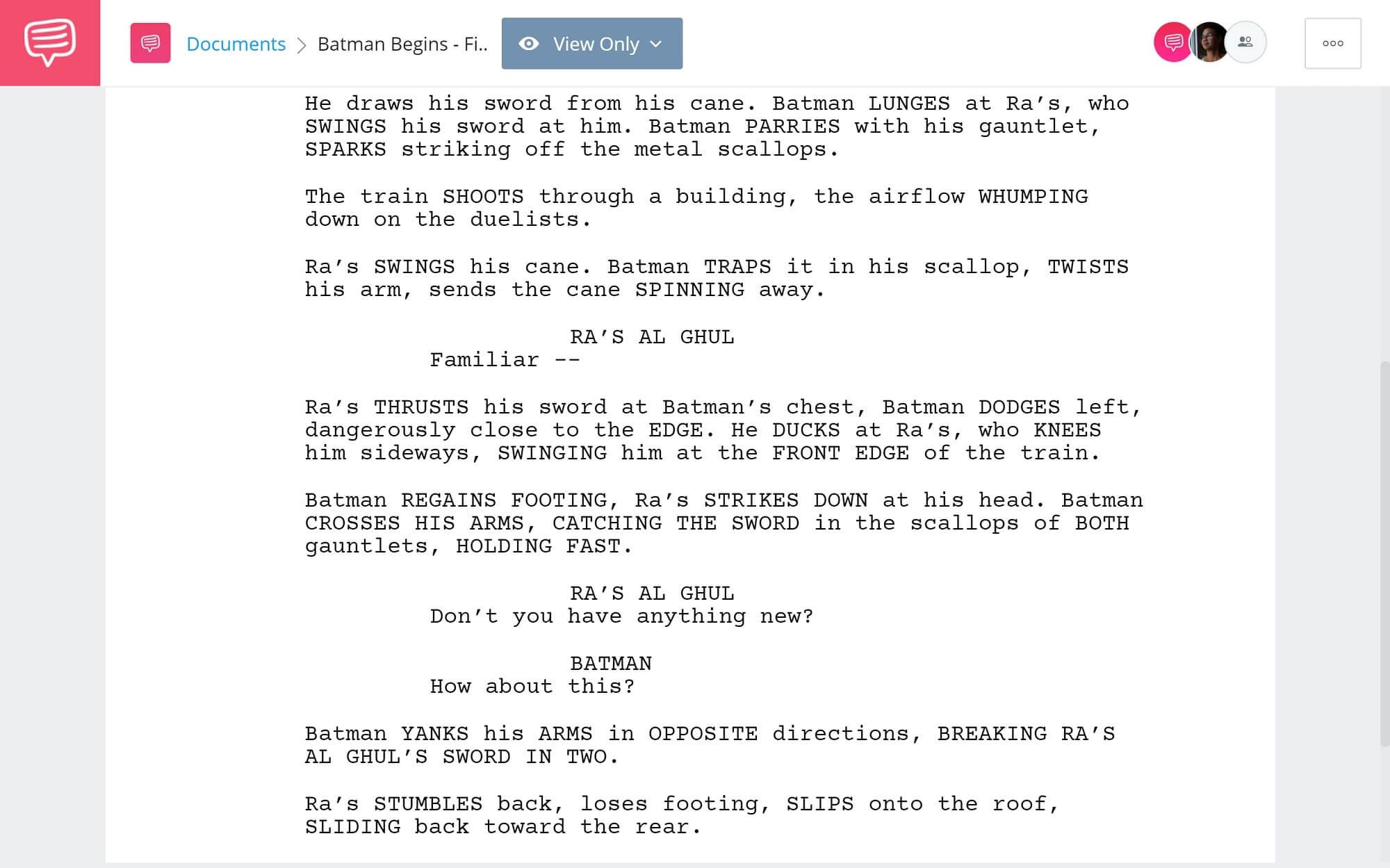 Batman Begins Script Teardown - Final Battle - StudioBinder Screenwriting Software