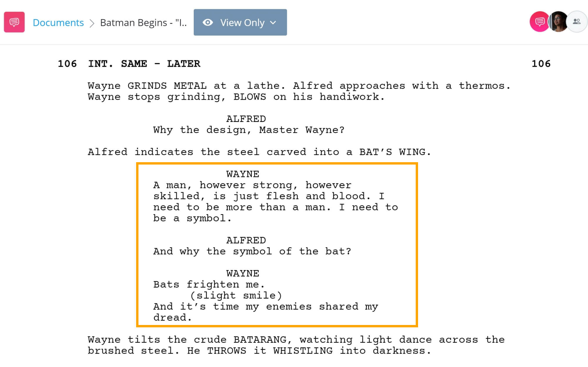 Batman Begins Script Teardown - I Need To Be A Symbol Scene - StudioBinder Screenwriting Software