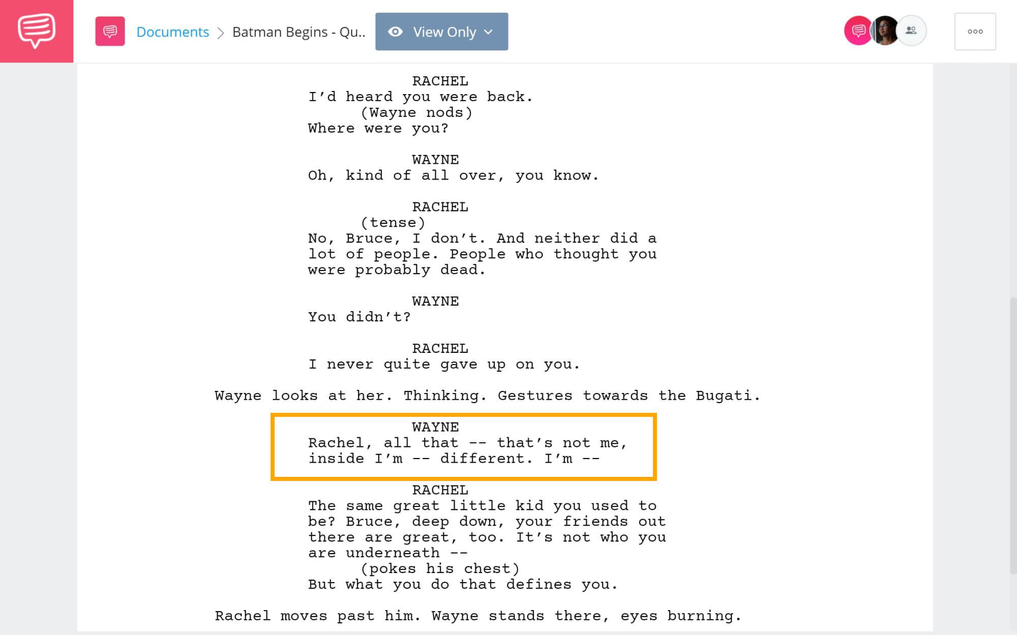 Batman Begins Script Teardown - Quotes Repetetion - StudioBinder Screenwriting Software