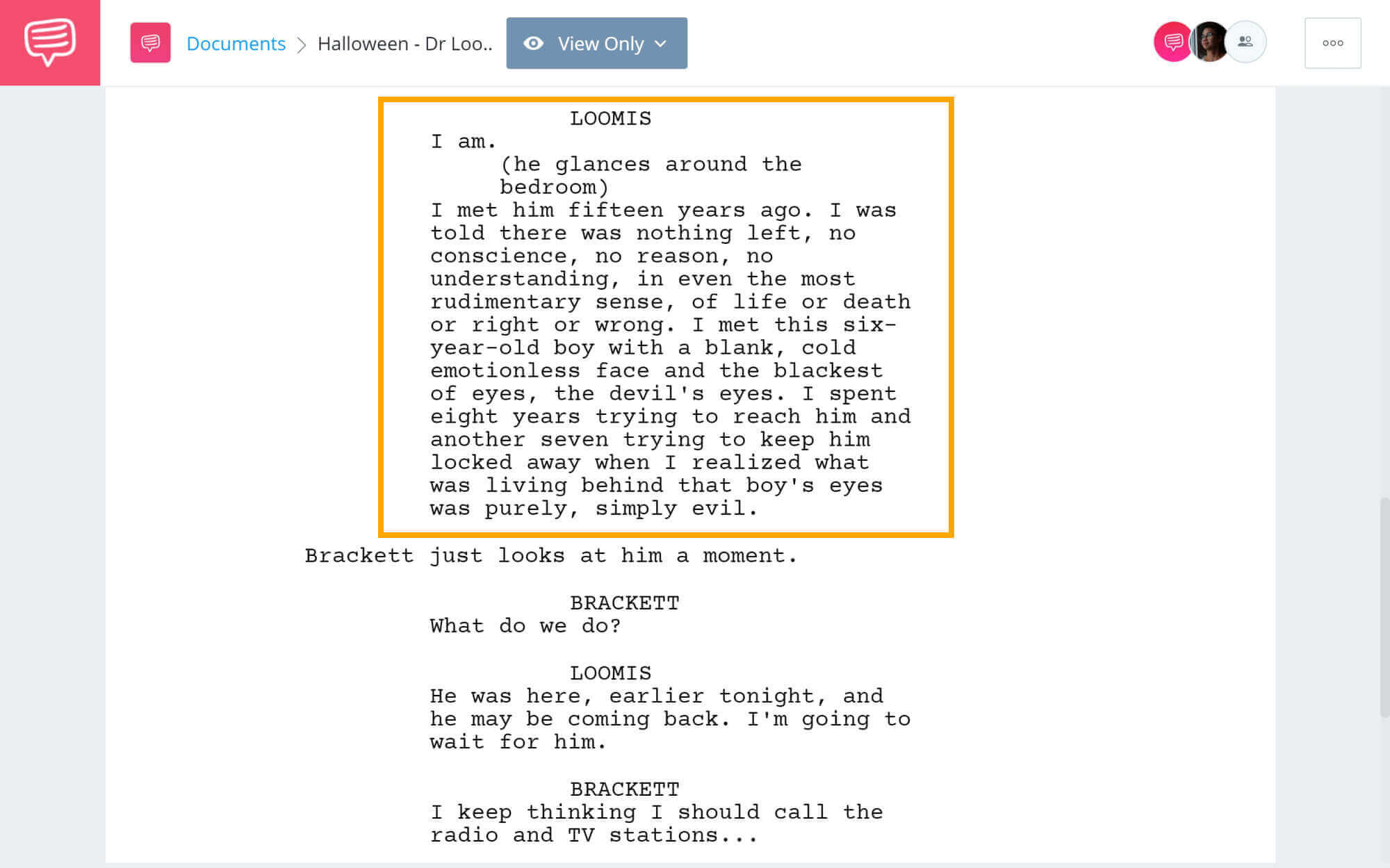 Halloween Script Teardown - Dr Loomis about Michael - StudioBinder Screenwriting Software