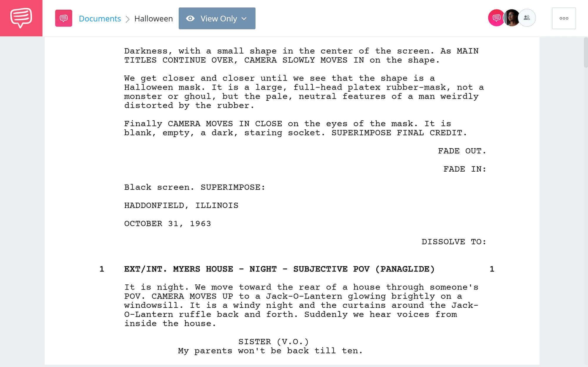 Halloween Script Teardown - Full Script PDF Download - StudioBinder Screenwriting Software