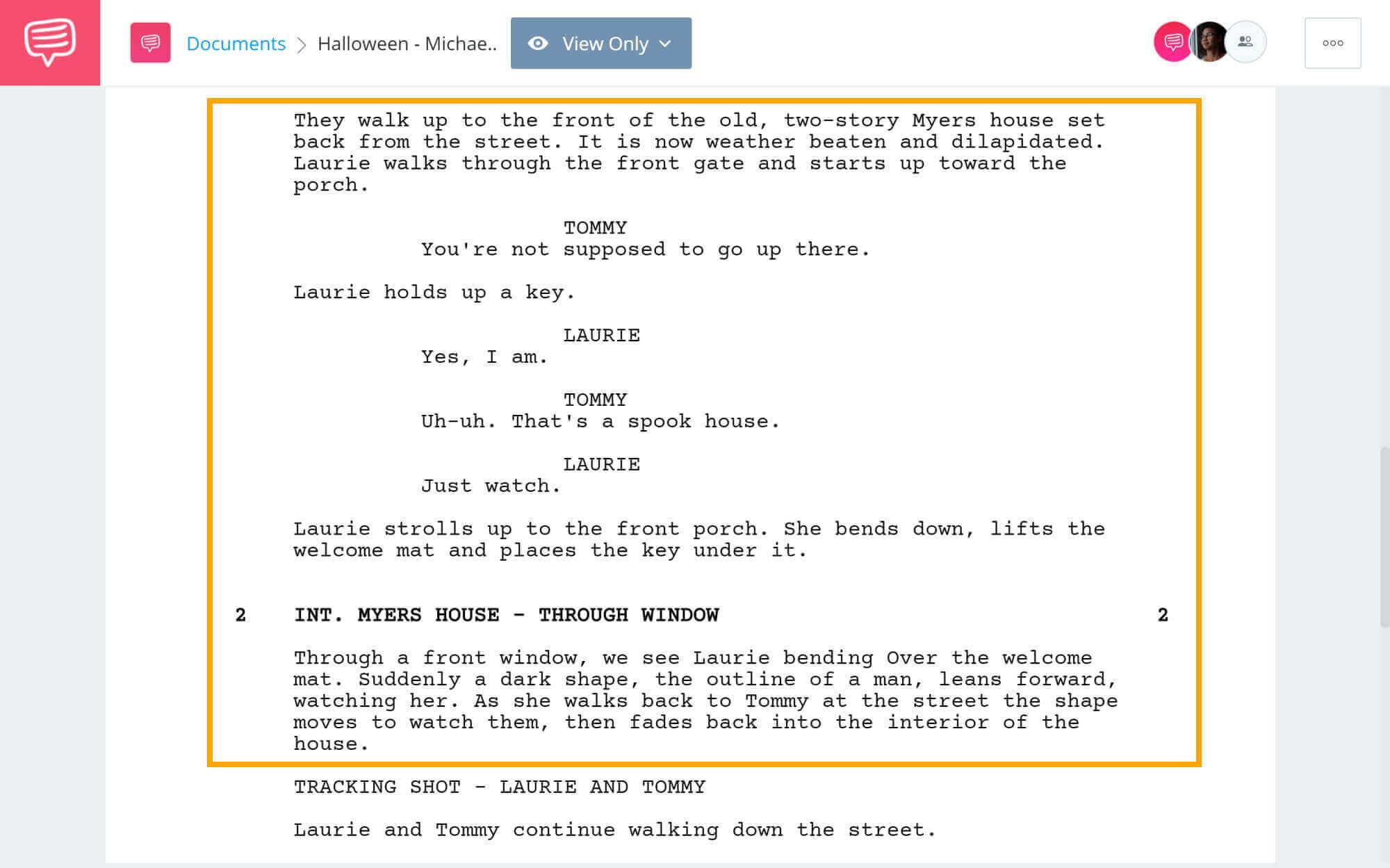 Halloween Script Teardown - Michael Stalks Laurie - StudioBinder Screenwriting Software