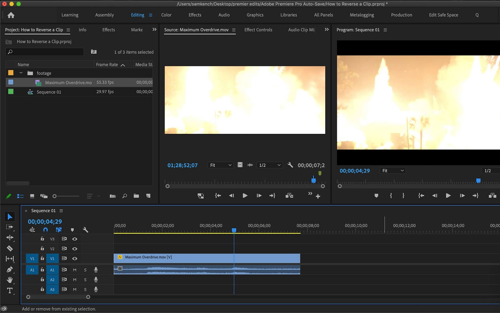 How To Reverse a Clip im Premiere Pro - Second Image