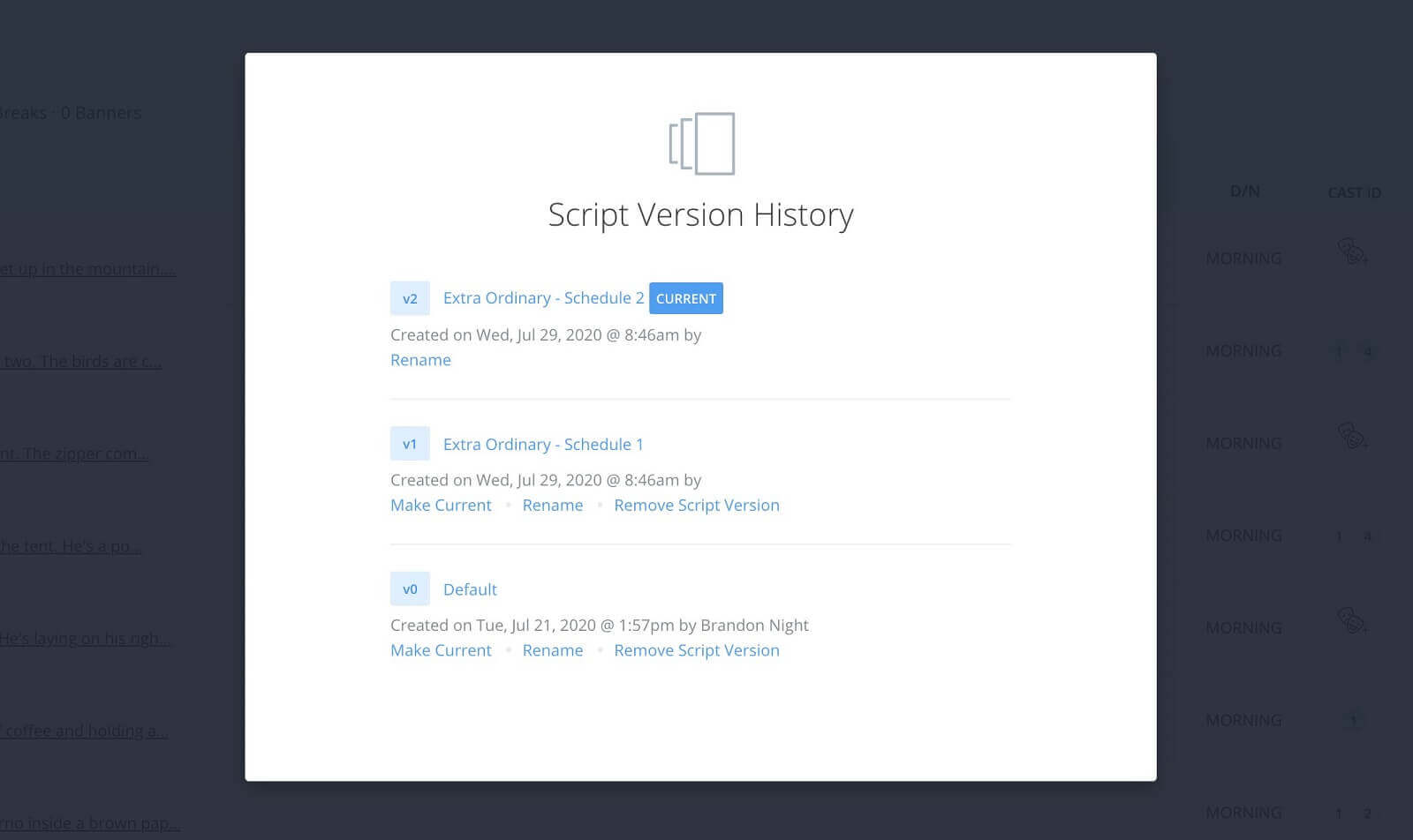 How to Create Multiple Shooting Schedules - Version History Manager - Rename Versions - StudioBinder