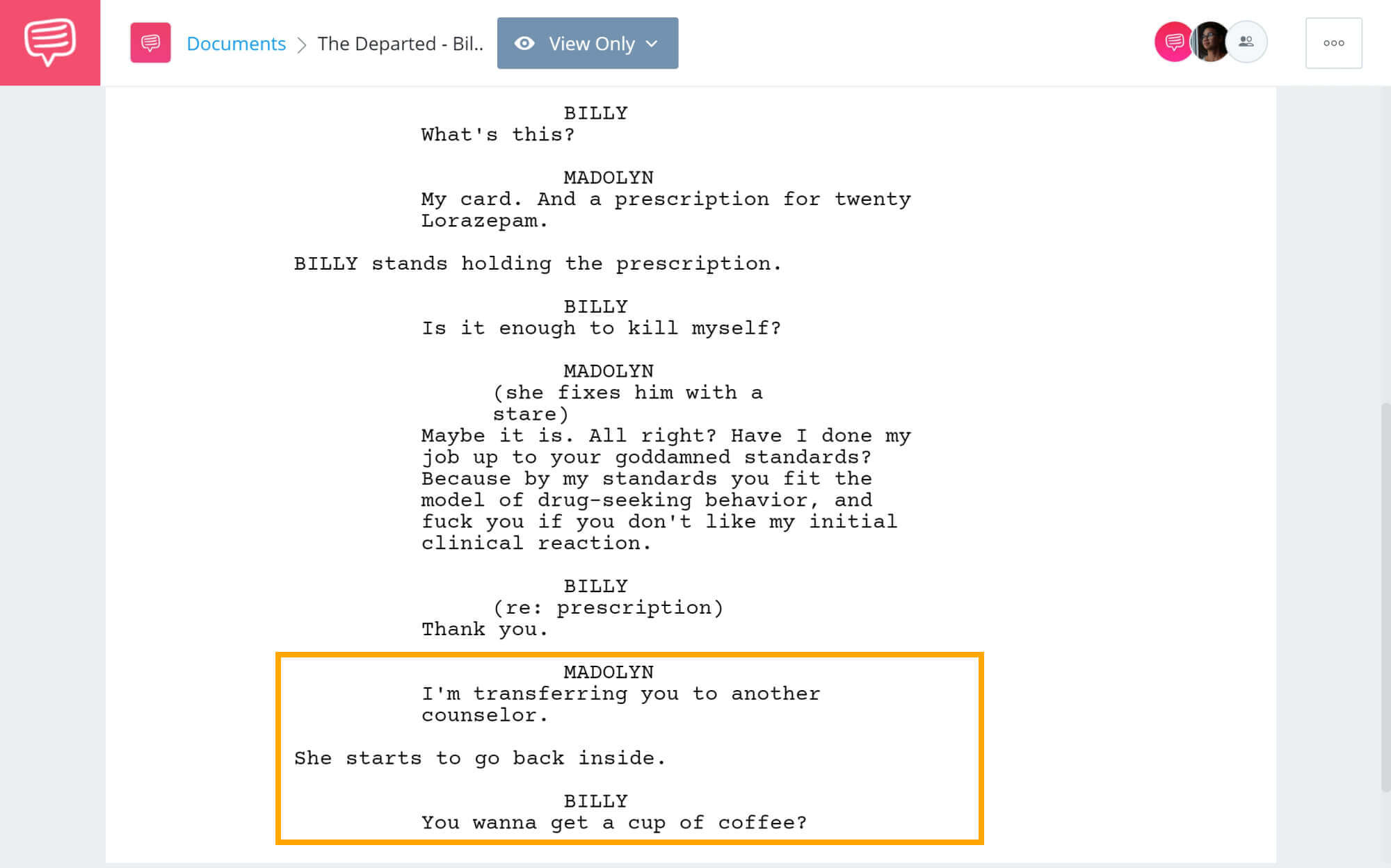 The Departed Script Teardown - Billy Makes A Human Connection Scene - StudioBinder Screenwriting Software