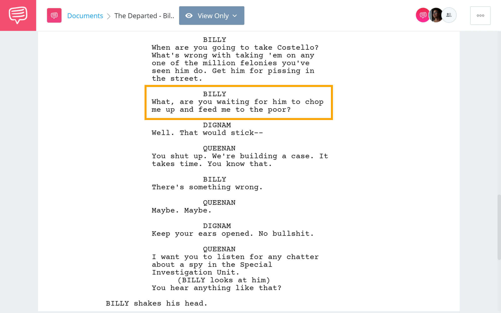 The Departed Script Teardown - Billy's Famous Quote - StudioBinder Screenwriting Software
