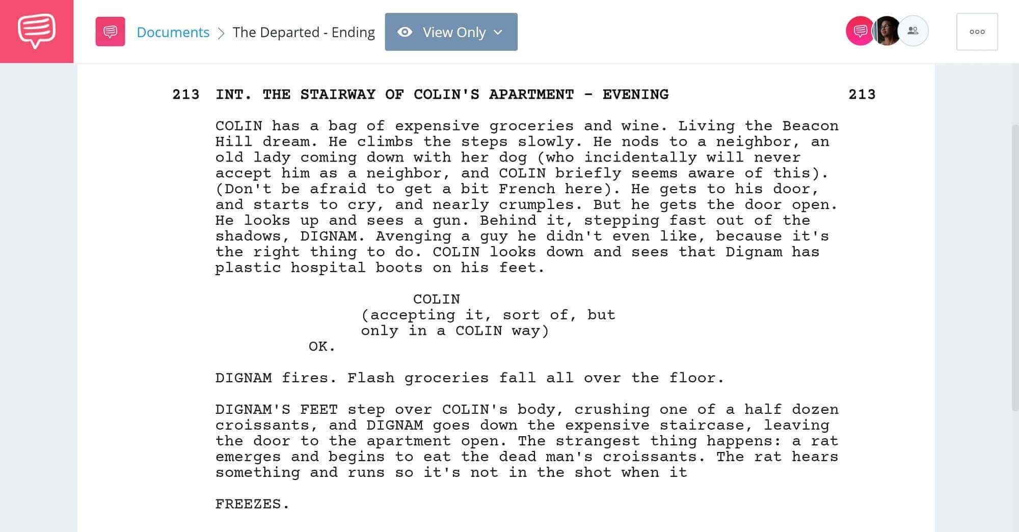 The Departed Script Teardown - Ending Scene - StudioBinder Screenwriting Software