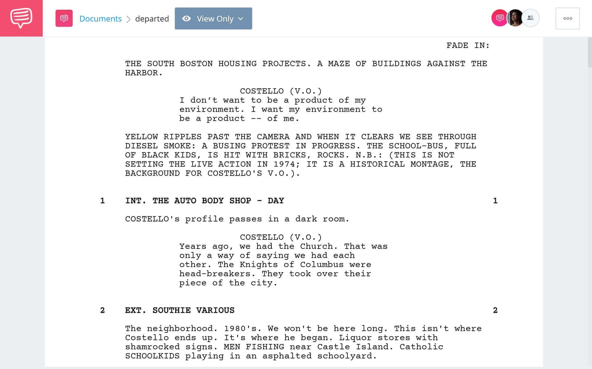 The Departed Script Teardown - Full Script PDF Download - StudioBinder Screenwriting Software