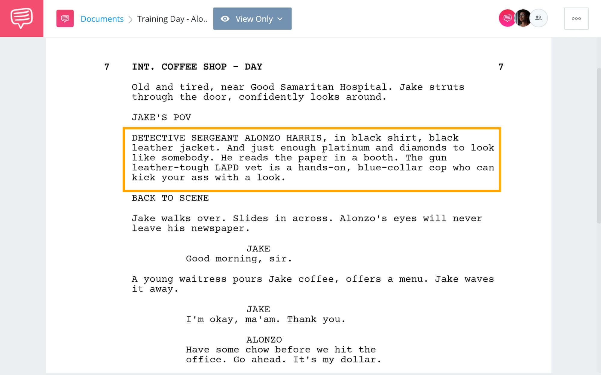 Training Day Script Teardown - Alonzo Harris Introduction - StudioBinder Screenwriting Software