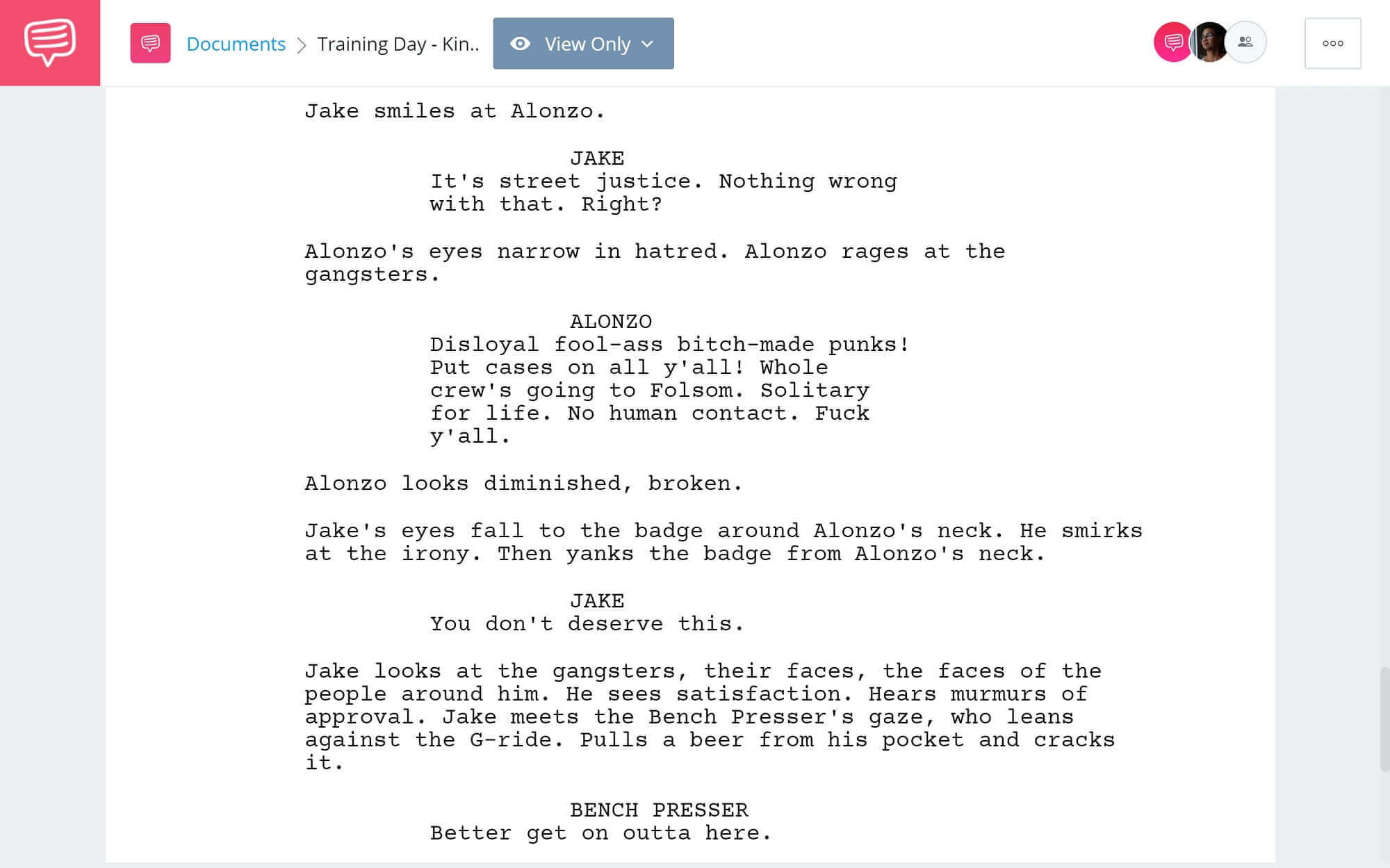 Training Day Script Teardown - King Kong Scene - StudioBinder Screenwriting Software