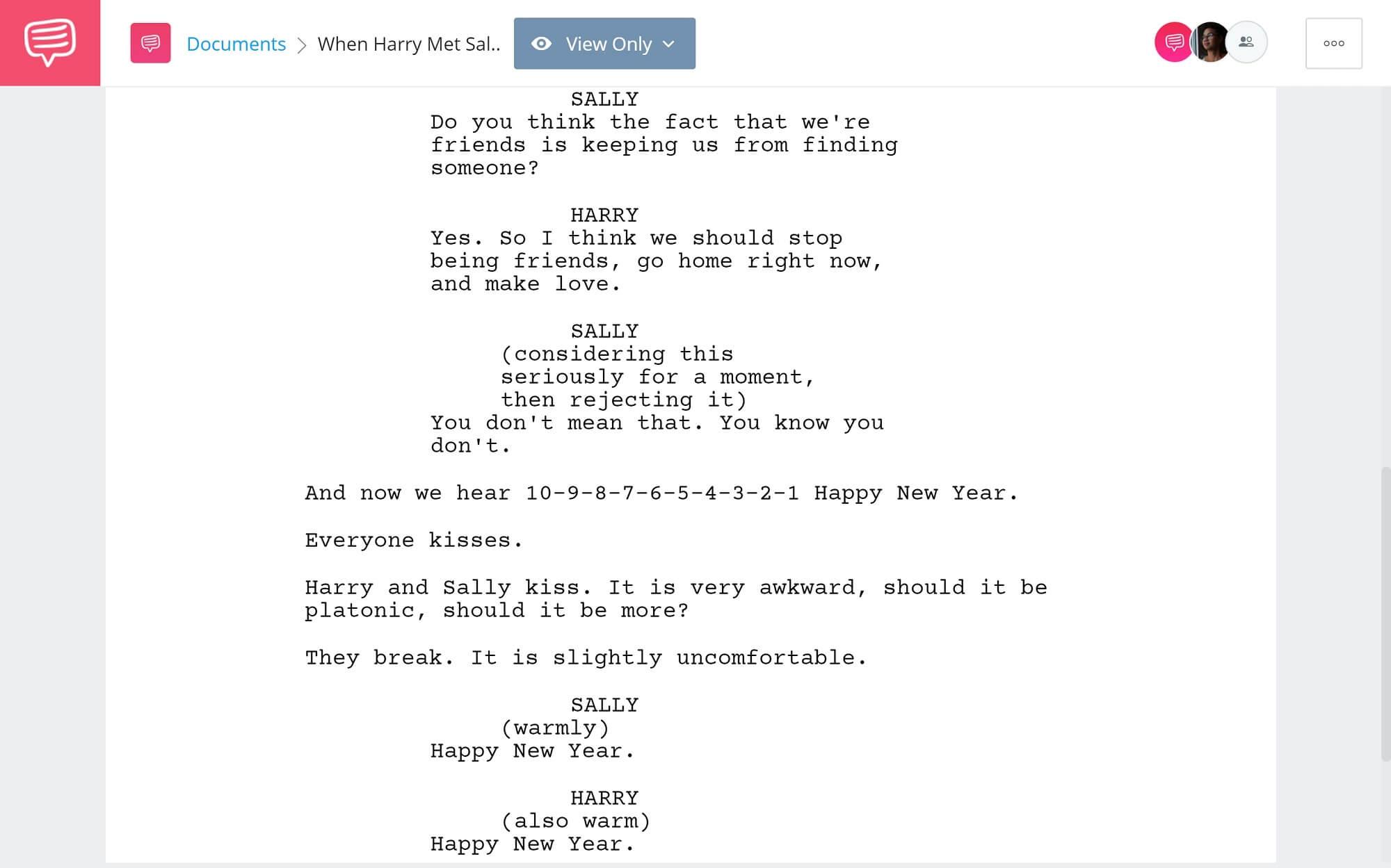 When Harry Met Sally Script Breakdown - Ending - StudioBinder Screenwriting Software