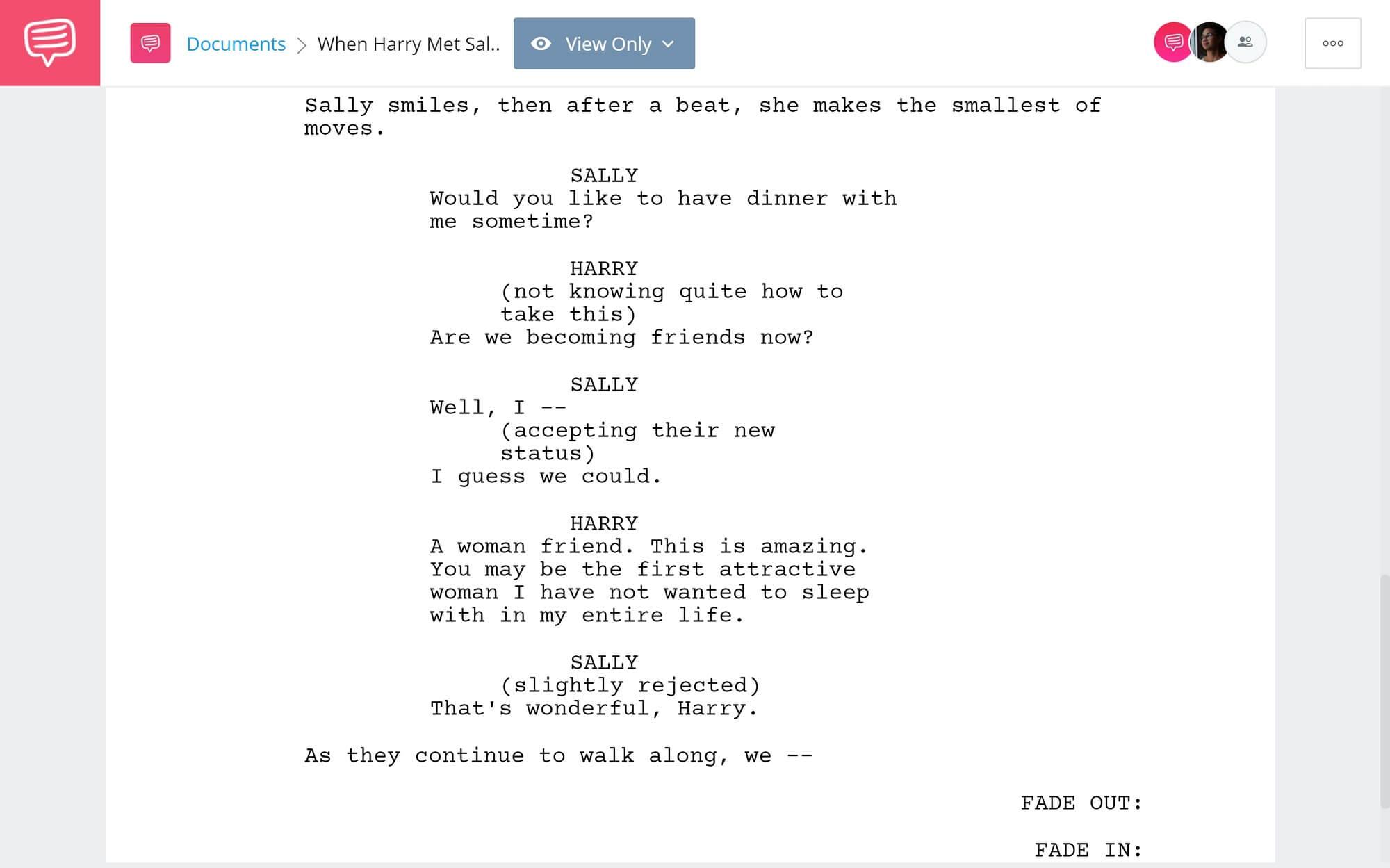 When Harry Met Sally Script Breakdown - Friends Scene - StudioBinder Screenwriting Software