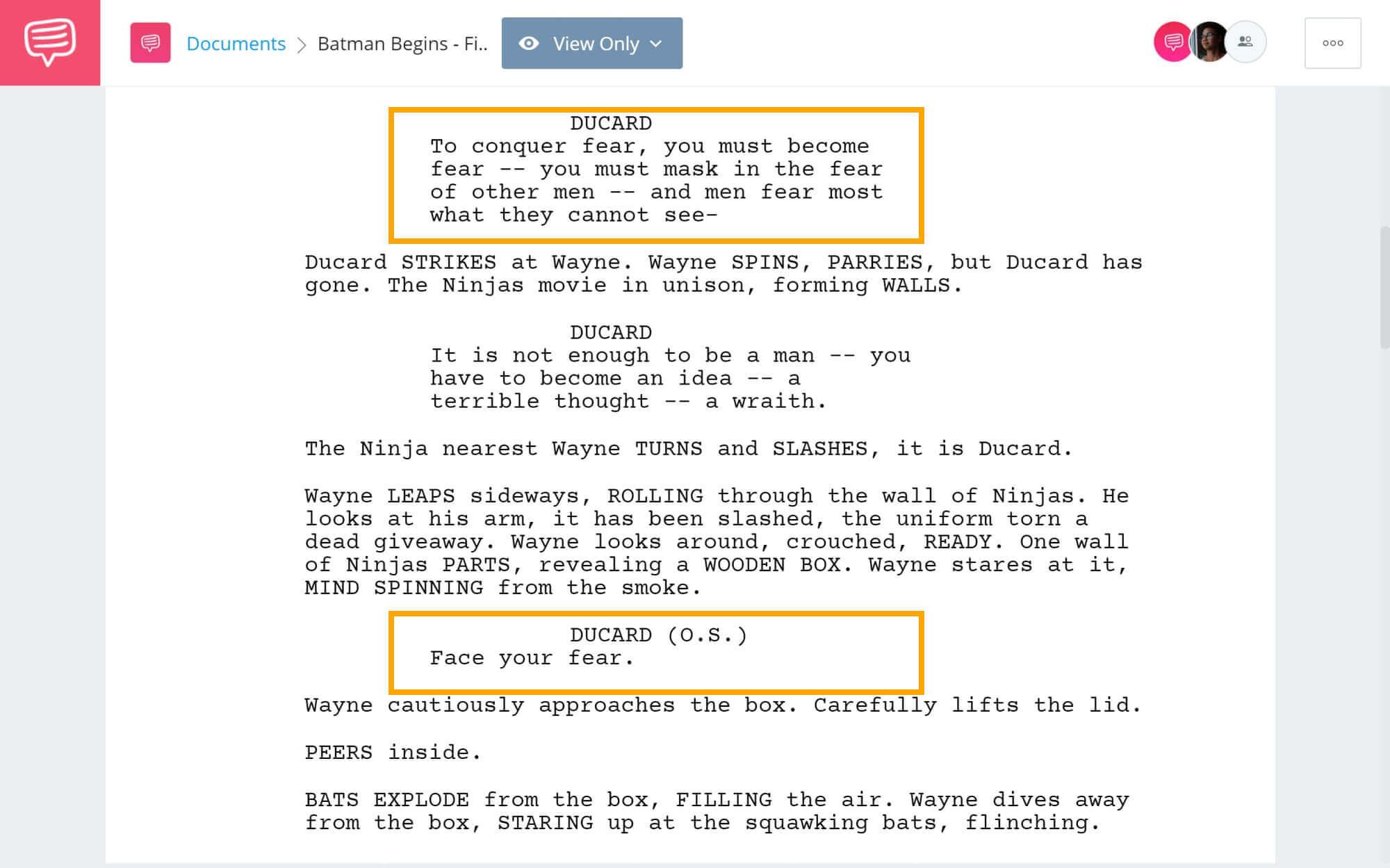 Batman Begins Script Teardown - Final Test of the League - StudioBinder Screenwriting Software