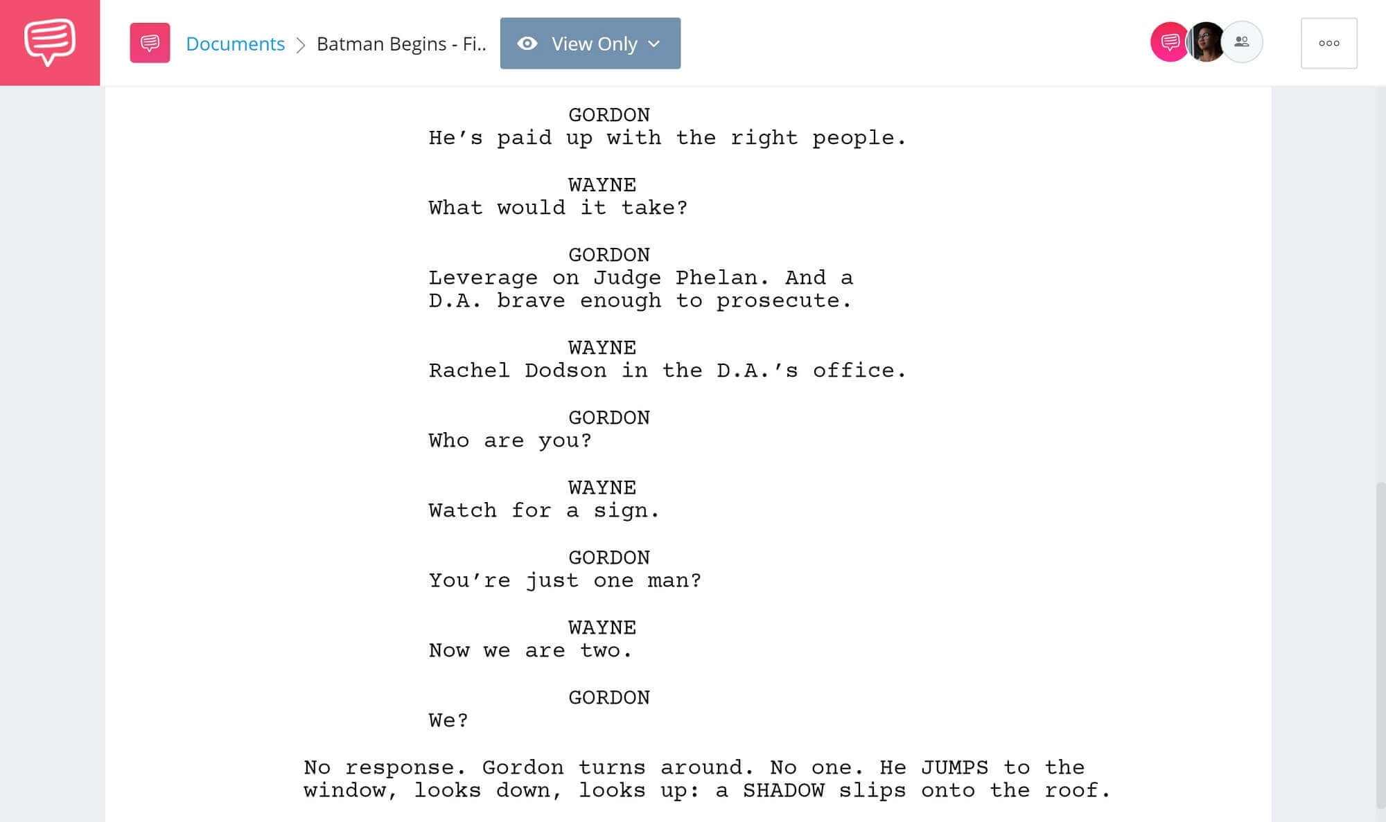 Batman Begins Script Teardown - Gordon & Batman First Encounter - StudioBinder Screenwriting Software