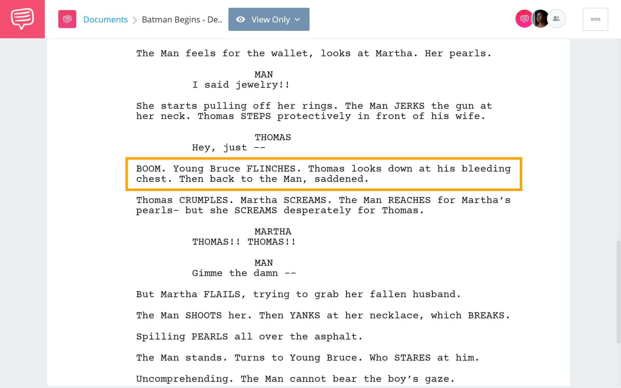 Batman Begins Script Teardown - Martha and Thomas Wayne Tragic Death - StudioBinder Screenwriting Software
