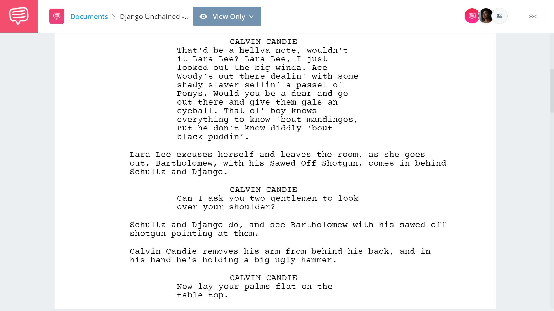 Django Unchained Script Teardown - Calvin Candle Monologue - StudioBinder Screenwriting Software