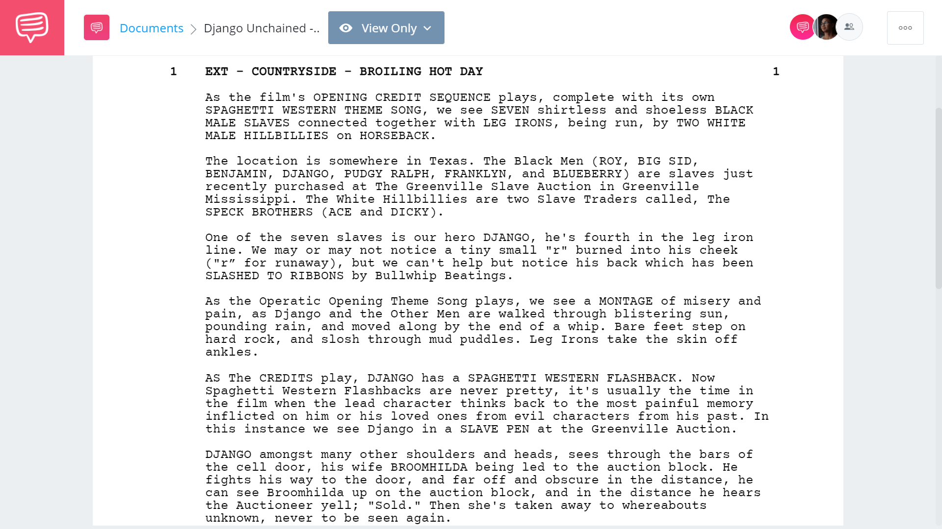 Django Unchained Script Teardown - First Page - StudioBinder Screenwriting Software
