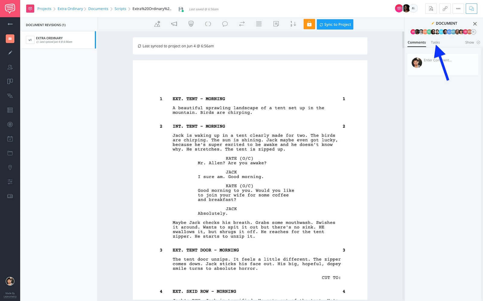 How To Set Up a Project for Success in StudioBinder - Screenwriting Pages - Click Tasks