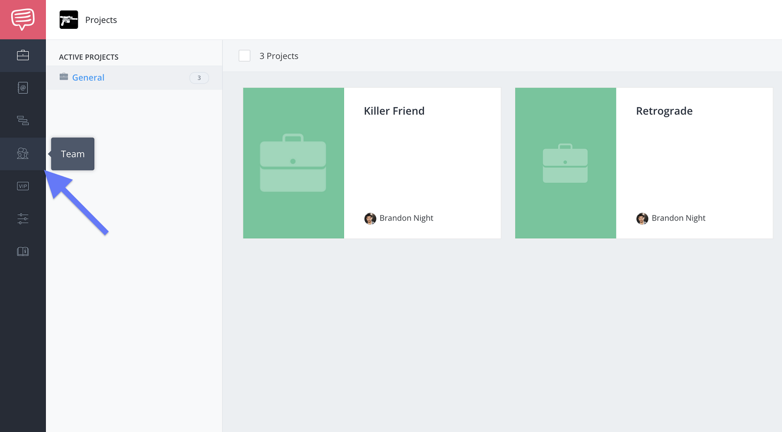 Account dashboard - Click team button