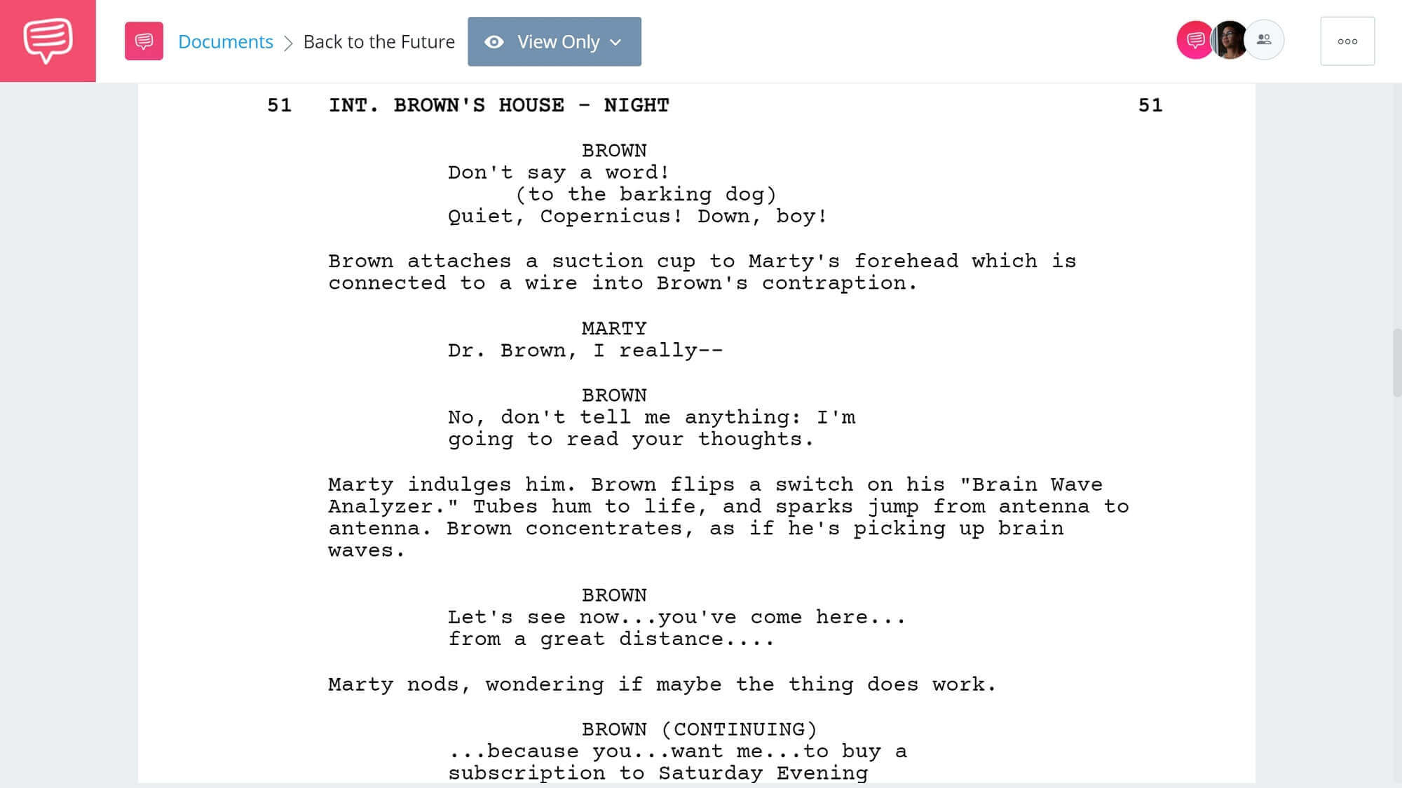 Back to the Future Script Teardown - Doc & Marty Plan Scene SEC - StudioBinder Screenwriting Software