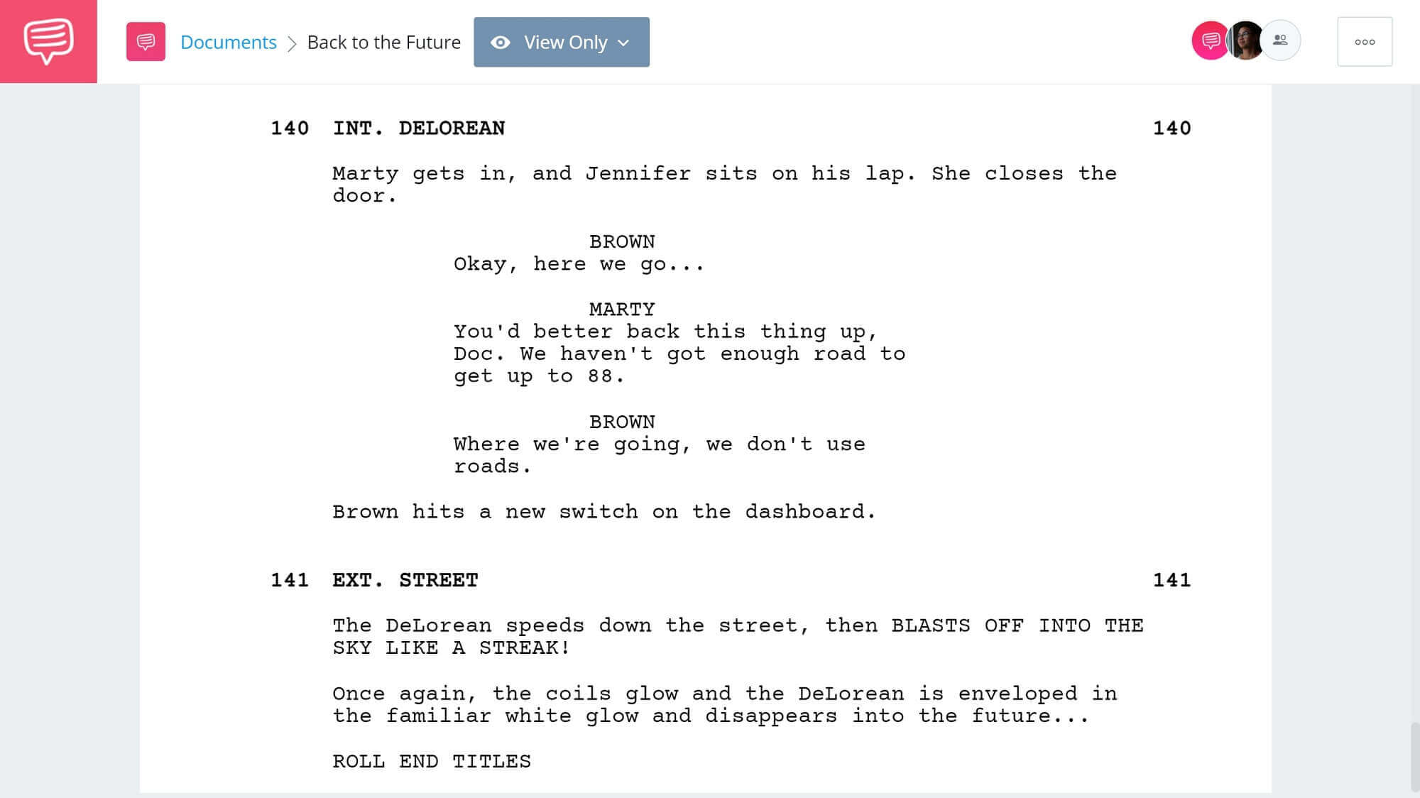 Back to the Future Script Teardown - Final Scene SEC - StudioBinder Screenwriting Software