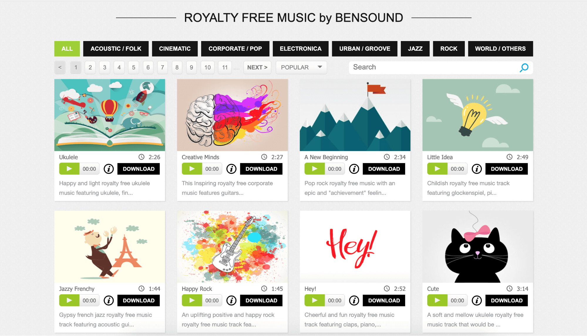 Bensound library of  Royalty free music for commercial use