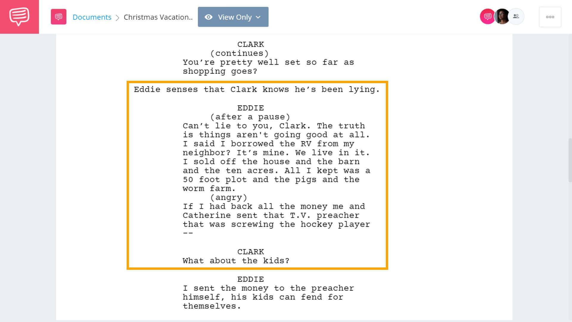 Christmas Vacation Script Teardown - Spirit of Giving Scene Second V - StudioBinder Screenwriting Software