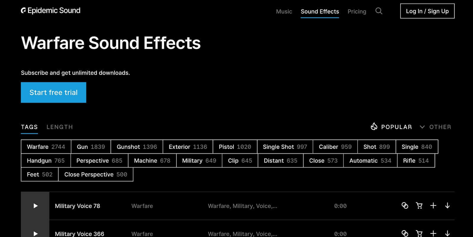Epidemic Sounds Free gun sounds online
