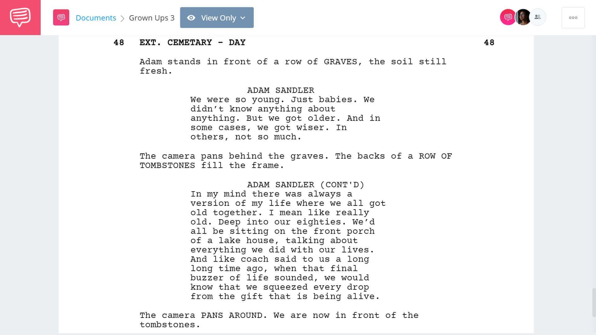 Grown Ups 3 Script Teardown - Ending - StudioBinder Screenwriting Software