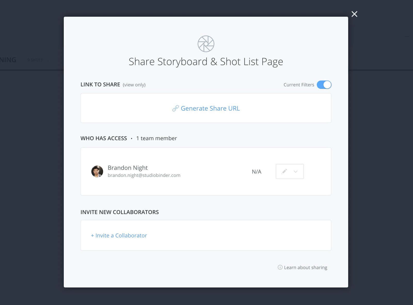 Shot lists & storyboards share page - Click invite collaborator
