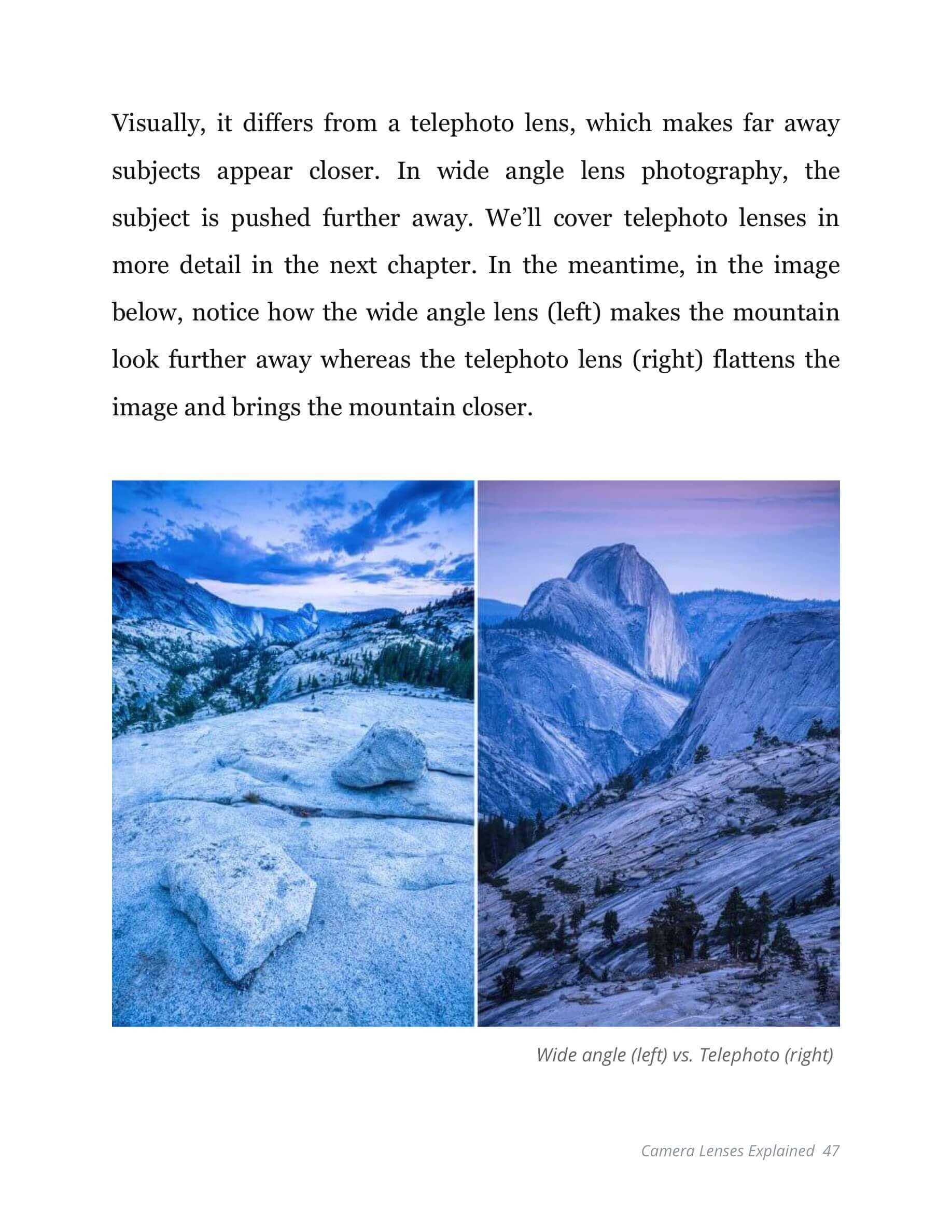 Various Types of Camera Lenses Ebook - Wide Angle Lens vs Telephoto Lens