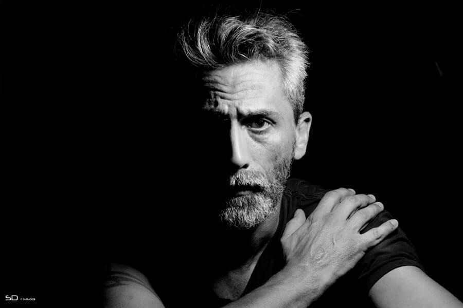 Black and white portrait photography— Split Lighting Setup