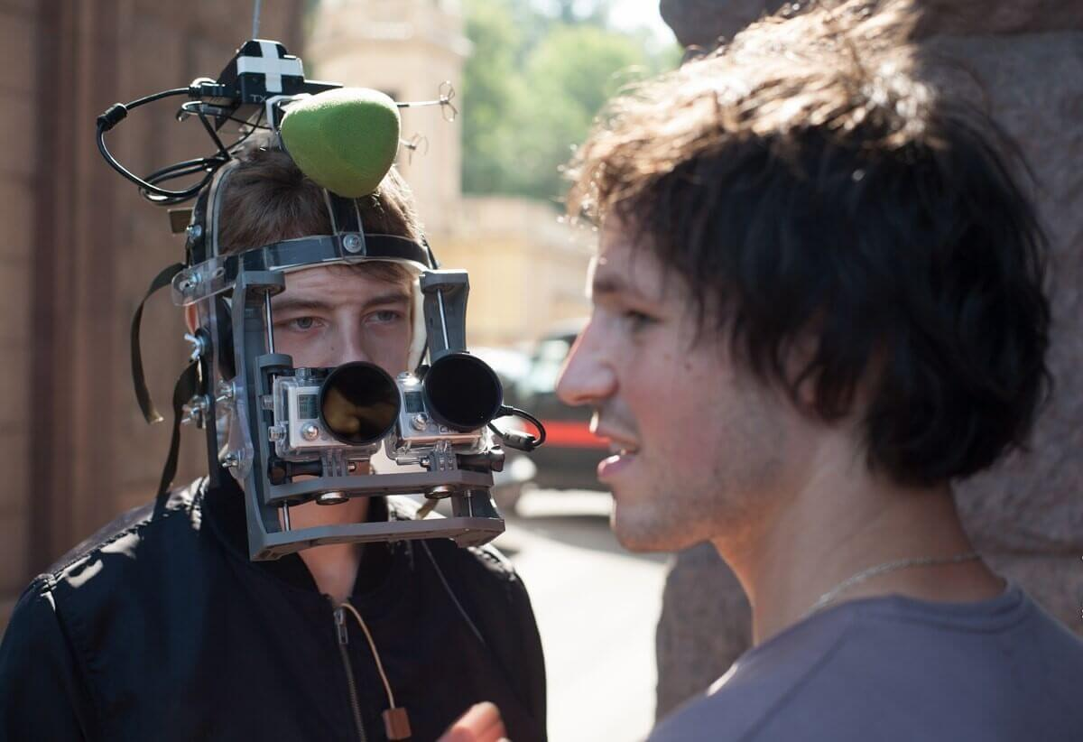 First-person mask rig fitted with two GoPro video cameras