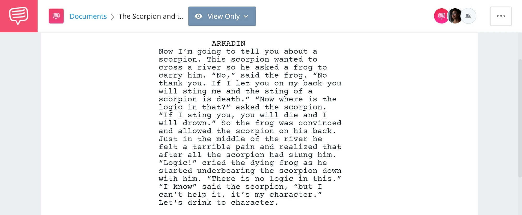 Mr. Arkadin The Scorpion and the Frog Story - StudioBinder Screenwriting Software