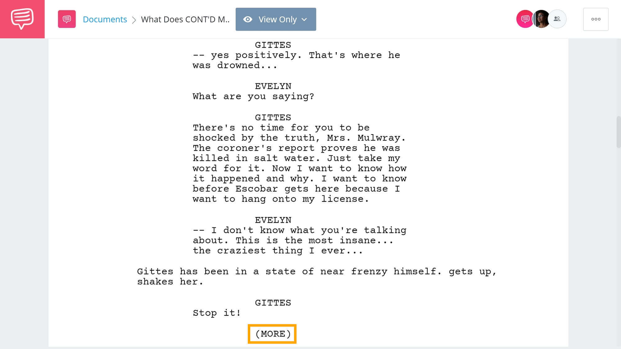 What Does CONT'D Mean in Screenplay - (MORE) Example from Chinatown - StudioBinder Screenwriting Software