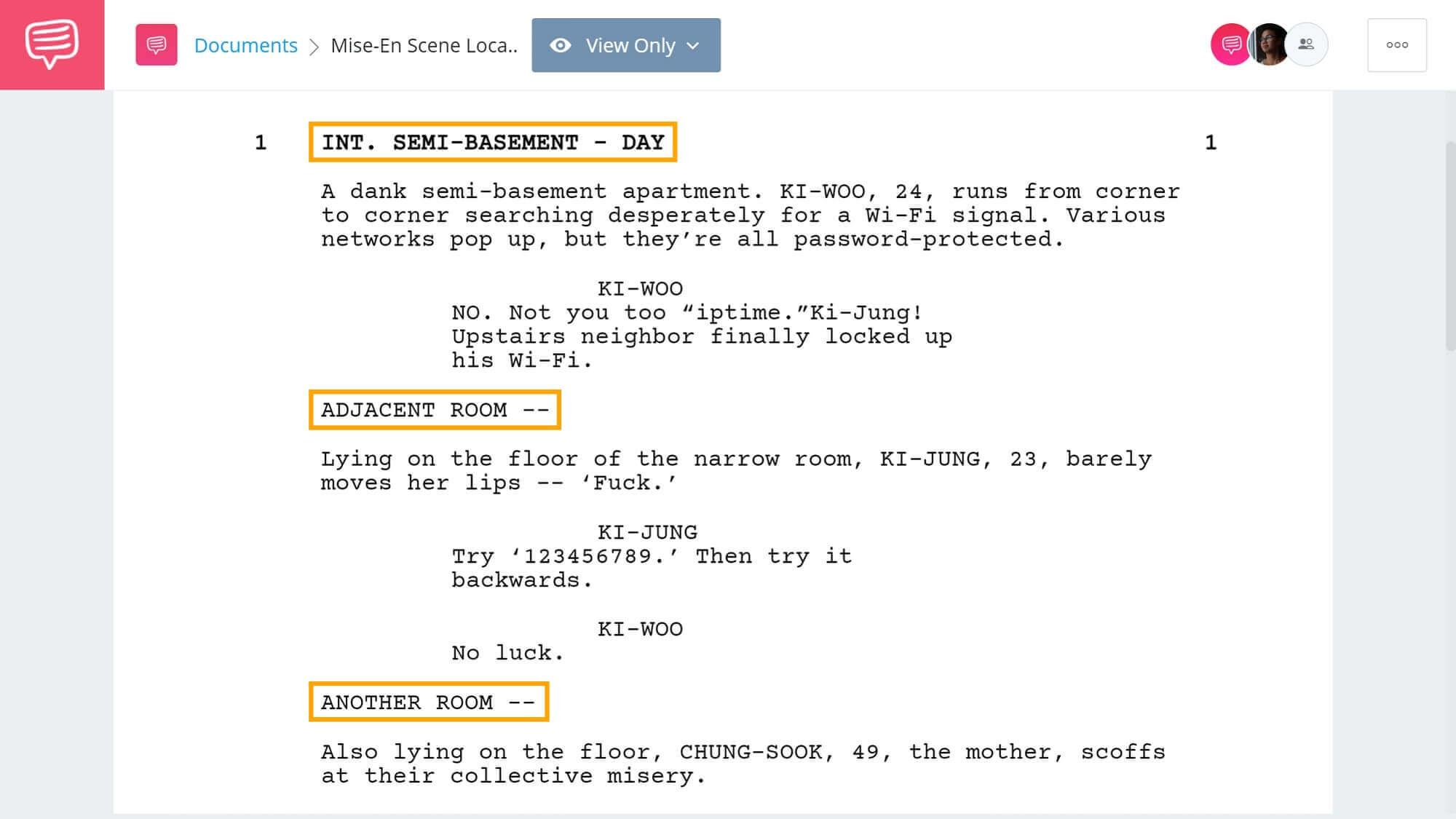 What is Slug Line - Changing Mise-En Scene Example - StudioBinder Screenwriting Software