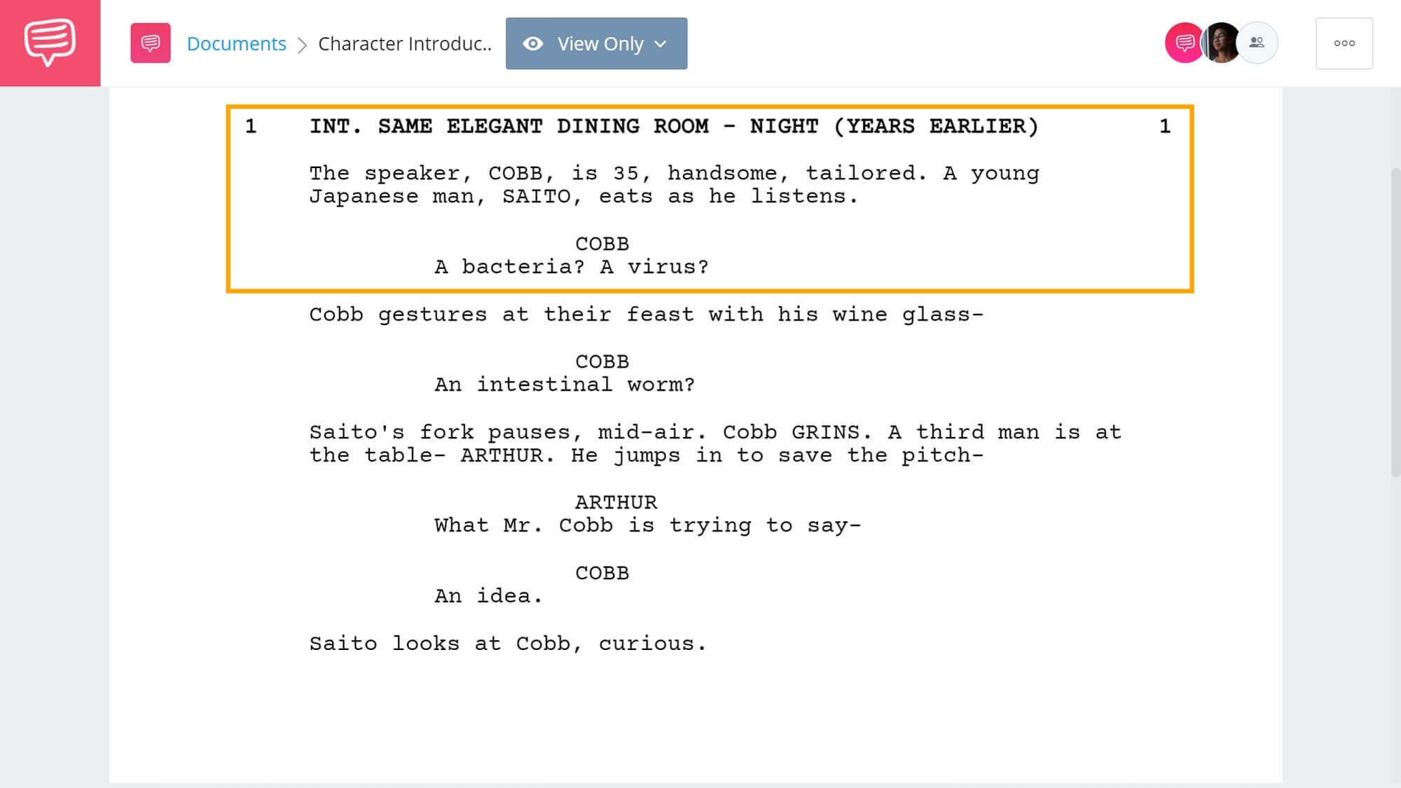 Character Introductions - Inception Character Introduction - StudioBinder Screenwriting Software