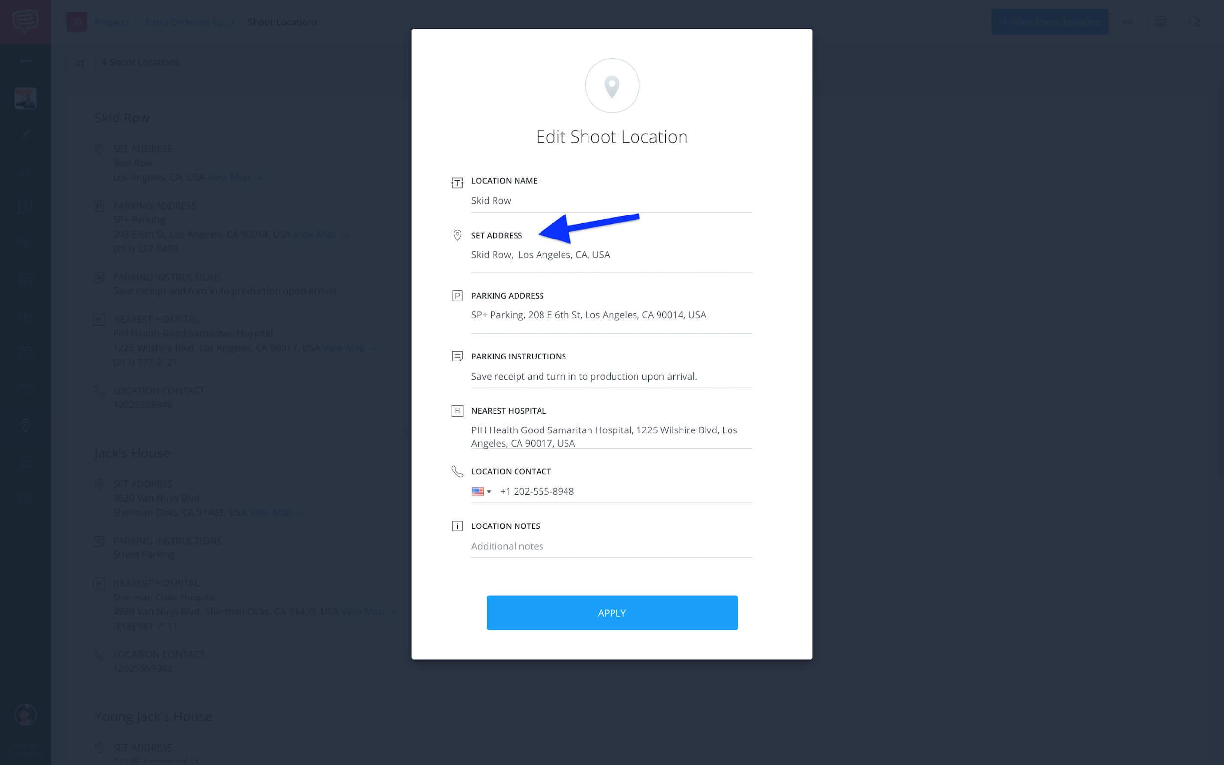 Edit shoot location - Confirm set address